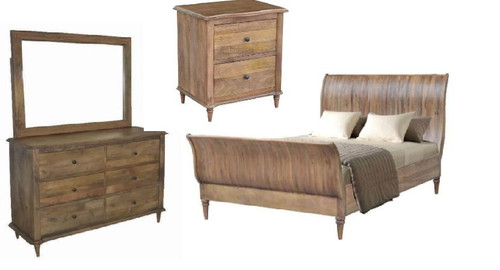 EXQUISITE KING 5  PIECE  DRAWER DRESSER  BEDROOM SUITE (WEMP-002) -  FRENCH GREY