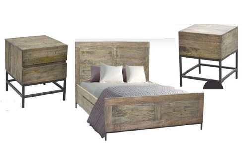 GOMEZ  QUEEN 3 PIECE BEDSIDE BEDROOM SUITE (WPTN-001) -  DISTRESSED NATURAL