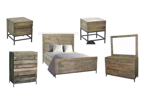 GOMEZ  QUEEN 6  PIECE (THE LOT)  BEDROOM SUITE (WPTN-001) -  DISTRESSED NATURAL