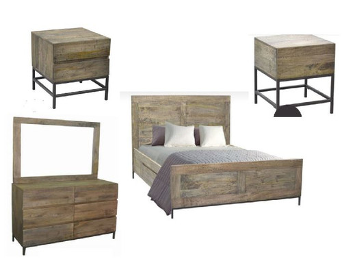 GOMEZ  QUEEN 5 PIECE DRESSER BEDROOM SUITE (WPTN-001) -  DISTRESSED NATURAL