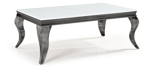 CHATEAU COFFEE TABLE  1200(W) X 700(D) - WHITE / NICKEL