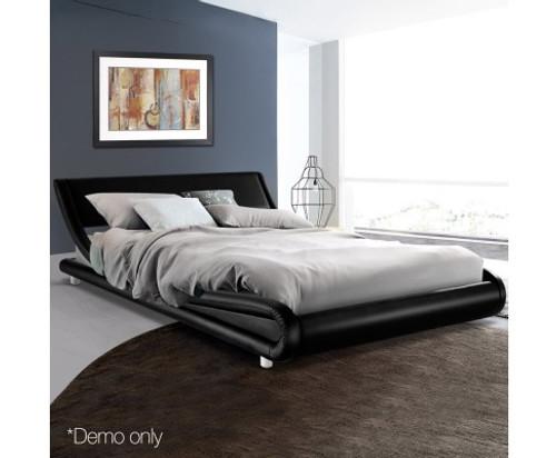 KING SASSON  LEATHERETTE  BED - BLACK