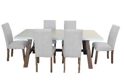 COPACABANA 7 PIECE DINING SETTING WITH  ASHTON CHAIR WITH 1600(L) x 900(W) DINING TABLE  -WHITE /  BEIGE