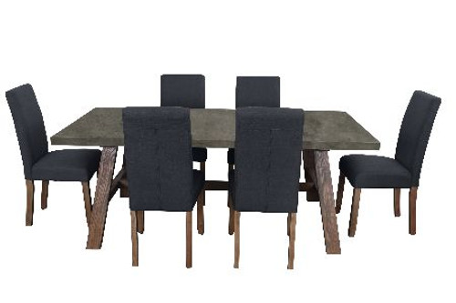 COPACABANA 7 PIECE DINING SETTING WITH  ASHTON CHAIR WITH 1600(L) x 900(W) DINING TABLE - CONCRETE TOP /  DARK GREY
