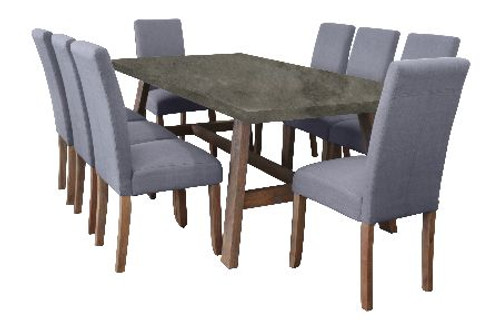 COPACABANA 9 PIECE DINING SETTING WITH  ASHTON CHAIR 2100(L) x 1000(W) - CONCRETE TOP /  LIGHT GREY