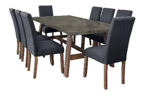 COPACABANA 9 PIECE DINING SETTING WITH  ASHTON CHAIR 2100(W) x 1000(D) - CONCRETE TOP /  DARK GREY