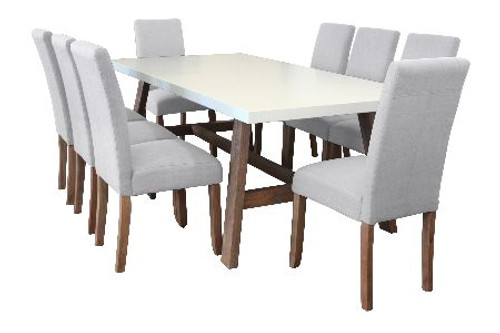 COPACABANA 9 PIECE DINING SETTING WITH  ASHTON CHAIR 2100(L) x 1000(W) - WHITE /  BEIGE