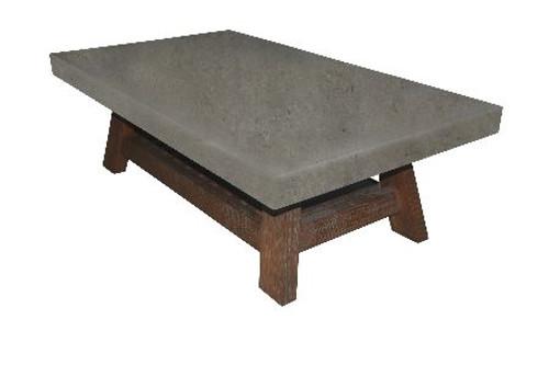 COPACABANA COFFEE TABLE WITH MAGAZINE RACK-  1300(W) X 700(D) - CONCRETE LOOK TOP