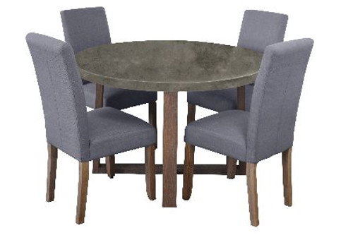 COPACABANA 5 PIECE ROUND DINING SETTING WITH ASHTON CHAIRS - 1200(L) - CONCRETE TOP / LIGHT GREY