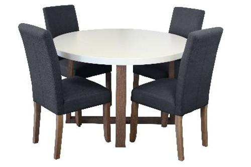 COPACABANA 5 PIECE ROUND DINING SETTING WITH ASHTON CHAIRS - 1200(L) - WHITE  /  DARK GREY