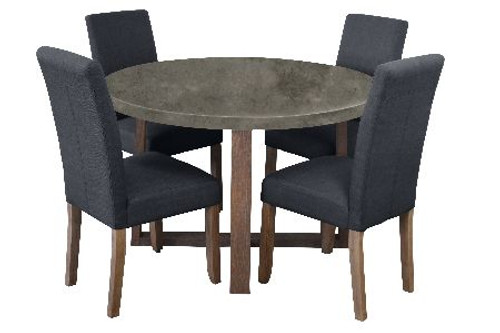 COPACABANA 5 PIECE ROUND DINING SETTING WITH ASHTON CHAIRS - 1200(L) - CONCRETE TOP  /  DARK GREY