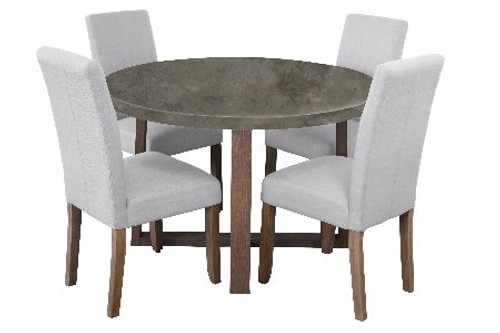 COPACABANA 5 PIECE ROUND DINING SETTING WITH ASHTON CHAIRS - 1200(L) - CONCRETE TOP  /  BEIGE