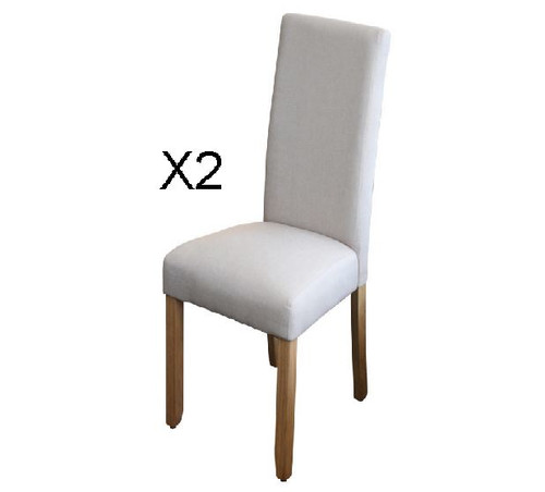 ASHTON SET OF 2 FABRIC UPHOLSTERED DINING CHAIR -  BEIGE
