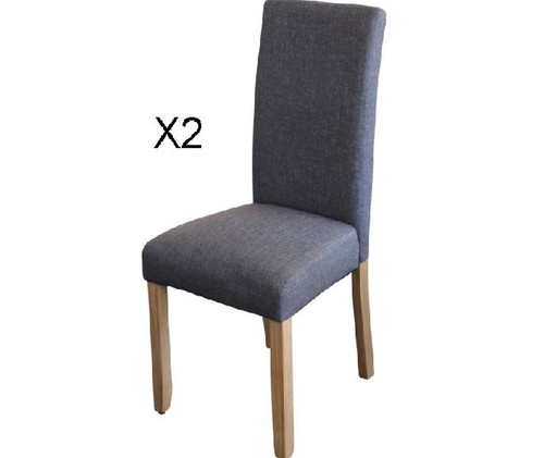 ASHTON SET OF 2 FABRIC UPHOLSTERED DINING CHAIR -  DARK GREY