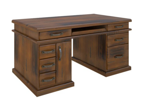 JAMAICA DESK  WITH 7 DRAWERS  AND DOOR - 1650(L) X 830(W) - BLACKWOOD