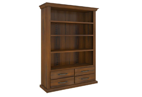 JAMAICA BOOKCASE WITH FOUR (4) DRAWERS AND SHELVES 1950(H) X 1030(W) -  BLACKWOOD