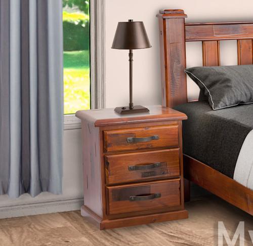 JAMAICA (VJM‐002) 3 DRAWER BEDSIDE TABLE - BLACKWOOD