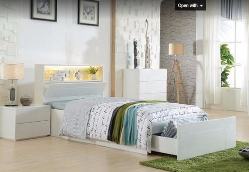 KING SINGLE EMERTON  (MODEL 4-5-12-20-1) -  SIDE  GAS LIFT STORAGE  BED (MODEL:LS-081KS) - GLOSS WHITE