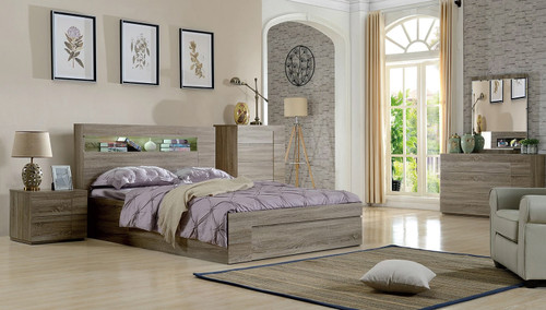DOUBLE SAVANNA STORAGE BED WITH SIDE OPEN (REVERSIBLE) GAS LIFT & LED LIGHTS - MOCHA OAK