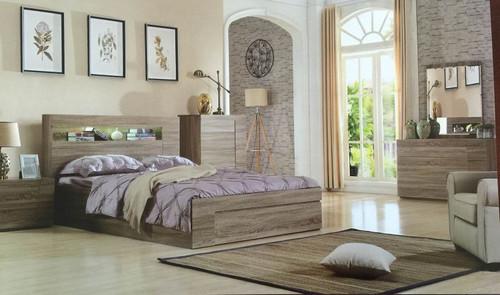 SAVANNA KING 5 PIECE (DRESSER) BEDROOM SUITE WITH GASLIFT BED - MOCHA