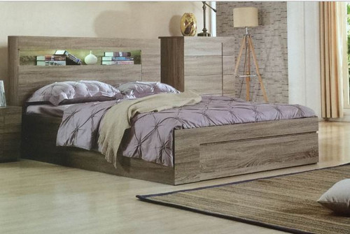SAVANNA DOUBLE OR QUEEN 3 PIECE BEDSIDE  BEDROOM SUITE WITH GASLIFT BED  - MOCHA