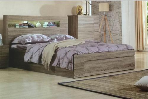 SAVANNA DOUBLE OR QUEEN 3 PIECE BEDSIDE BEDROOM SUITE WITH SIDE (REVERSIBLE) GASLIFT BED - MOCHA OAK
