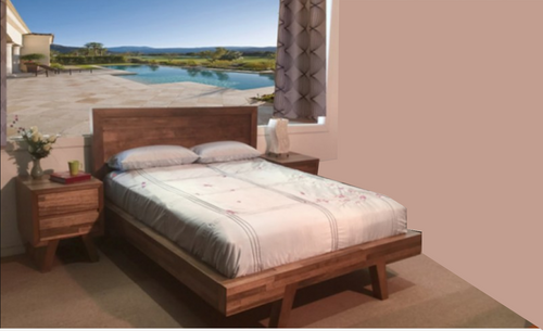 KING  V SUSAN HARDWOOD BED ONLY - COLOUR AS PICTURED