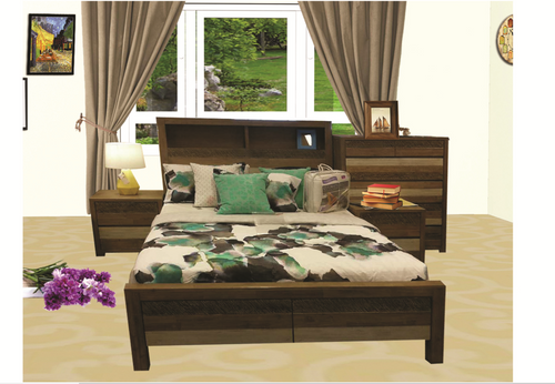 QUEEN COASTAL BOOKEND BED - AS PICTURED