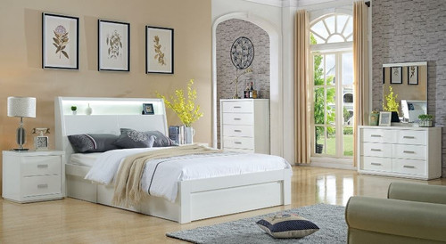 CHICAGO  DOUBLE OR QUEEN   5  PIECE DRESSER   BEDROOM SUITE WITH 4 DRAWERS  OR SIDE GAS LIFT BED  (LS-120 D/Q)- HIGH GLOSS WHITE