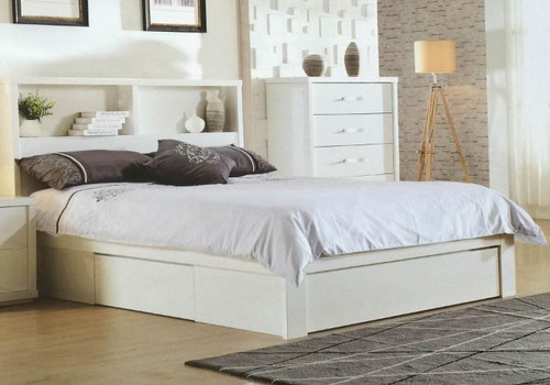DOUBLE BENZIMA STORAGE BED WITH SIDE (REVERSIBLE) GAS LIFT AND END DRAWER - (MODEL-LS-113Q) - HIGH GLOSS WHITE