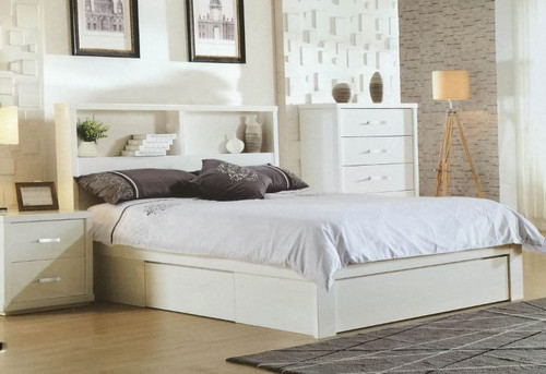 BENZIMA  DOUBLE  OR QUEEN 4 PIECE (TALLBOY)  BEDROOM SUITE - (MODEL-LS-113) - HIGH GLOSS WHITE