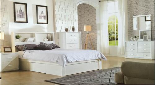 BENZIMA  DOUBLE OR QUEEN 5 PIECE (DRESSER) BEDROOM SUITE - (MODEL-LS-113) - HIGH GLOSS WHITE