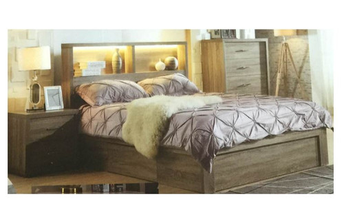 BENZIMA KING 4 PIECE TALLBOY BEDROOM SUITE - (MODEL-LS-113M) - MOCHA OAK