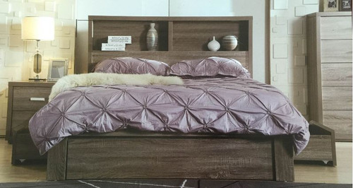 QUEEN BENZIMA STORAGE BED WITH SIDE GAS LIFT AND STORAGE DRAWERS (MODEL-LS-113M) - MOCHA OAK