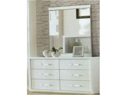 BENZIMA 6 DRAWER DRESSING TABLE WITH MIRROR (MODEL:LS 113 DR) - 1777(H) X 1200(W) - HIGH GLOSS WHITE