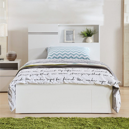 KING SINGLE GABBY BED WITH GAS LIFT AND BED END DRAWER (LS112) - HIGH GLOSS WHITE OR MOCHA OAK