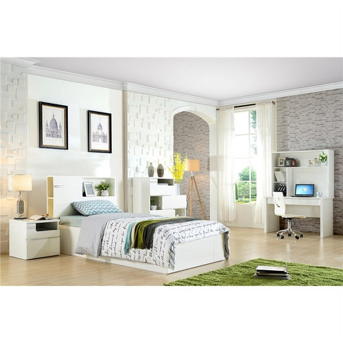 GABBY SINGLE OR KING SINGLE 4 PIECE BEDROOM SUITE WITH STUDY DESK & HUTCH (MODEL:LS 112) - HIGH GLOSS WHITE OR MOCHA OAK
