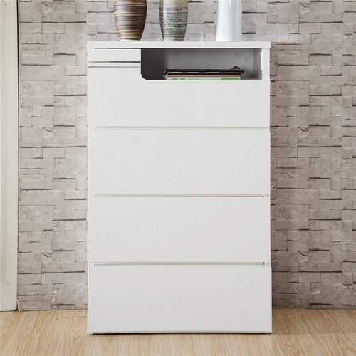 GABBY 4 DRAWER EXTENSION TALLBOY CHEST- 1104(H) X 700(W) -(MODEL:LS 112 TB) - HIGH GLOSS WHITE OR MOCHA OAK