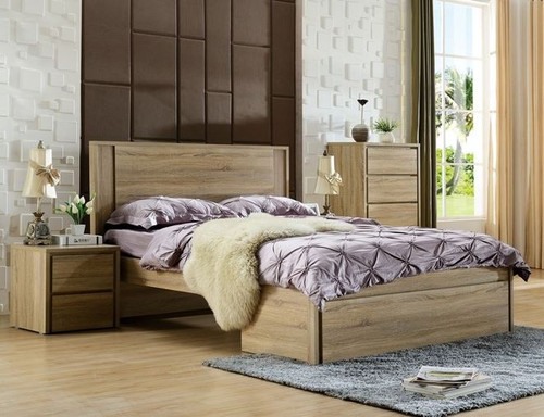 KING SERRANO BED WITH BED END STORAGE DRAWER (LS-128 K) - MOCHA