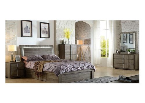 HANSON KING 5 PIECE DRESSER  BEDROOM SUITE (MODEL:LS 111K) (GAS LIFT OR SIDE DRAWER OPTIONS AVAILABLE) - MOCHA OAK
