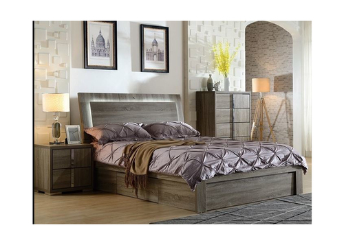 HANSON DOUBLE OR QUEEN 3  PIECE BEDSIDE BEDROOM SUITE (MODEL:LS 111) (GAS LIFT OR SIDE DRAWER OPTIONS AVAILABLE) - MOCHA OAK