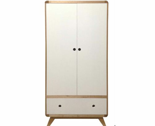 NORIC (AUSSIE MADE) 2 DOOR TASMANIAN OAK WARDROBE - 1800(H) X 900(W) - CLEAR LACQUER / WHITE