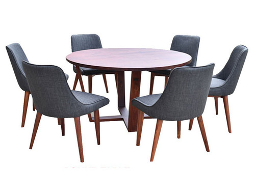 DENVER 7 PIECE DINING TABLE WITH ROUND DINING TABLE - 1300(D) - AS PICTURED