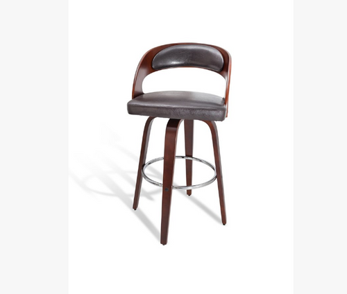FERRARA BENTWOOD LEATHERETTE BAR STOOL - SHINY BROWN