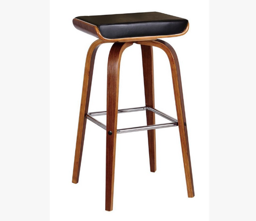 LUCCA BENTWOOD LEATHERETTE BAR STOOL - SEAT: 700(H) - BLACK