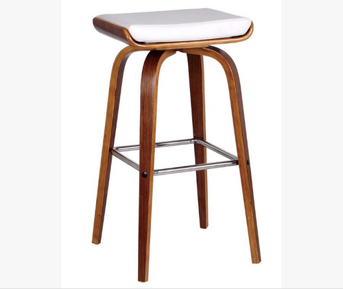 LUCCA BENTWOOD LEATHERETTE BAR STOOL - SEAT: 700(H) - (SET OF 2) - WHITE