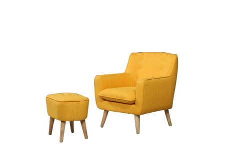 GEORGIA FABRIC UPHOLSTERED CHAIR WITH FOOT STOOL - YELLOW