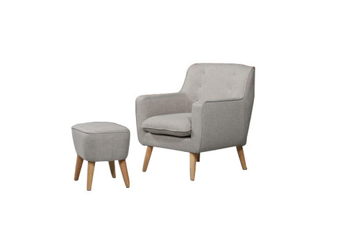 GEORGIA FABRIC UPHOLSTERED CHAIR WITH FOOT STOOL - LEAF