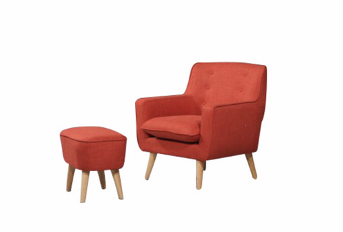GEORGIA FABRIC UPHOLSTERED CHAIR WITH FOOT STOOL - PEACH