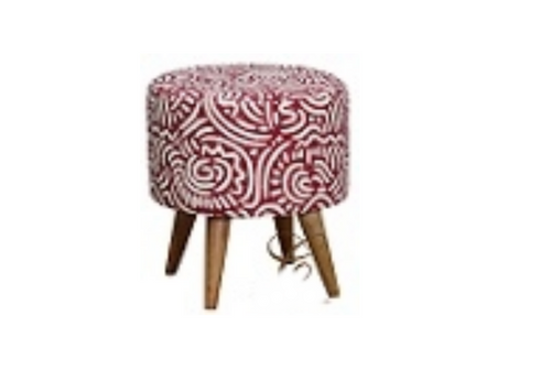 ROUND FABRIC   OTTOMAN - 400(DIA) (MODEL:OT 80 43 RD) - 430(H) X 400(DIA) - RED